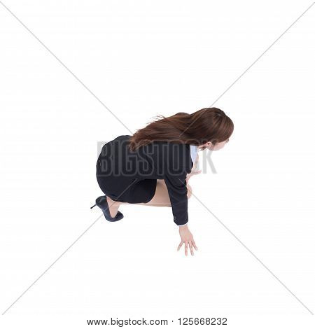 start your business - happy business woman ready to start running in full length isolated over white background high angle viewmodel is a asian beauty