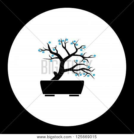 Small Bonsai Plant With Blue Flowers Silhouette Icon Eps10