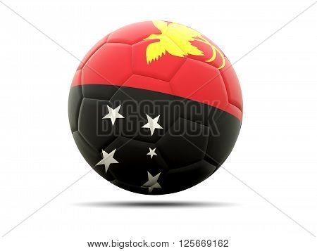Football With Flag Of Papua New Guinea