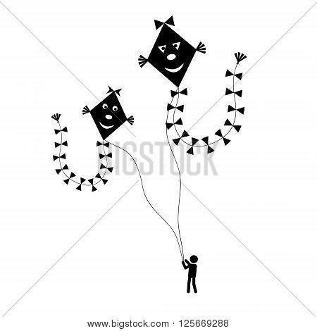 Man Or Child Fly A Kite Simple Black Illustration Eps10