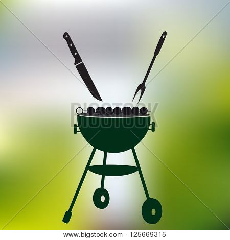 Garden Party Meat Grill With Food On Abstract Green Background Eps10