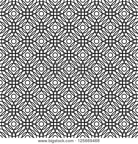 Seamless black and white abstract grid pattern design background
