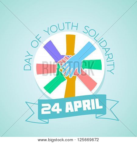 Calendar for each day on April 24. Greeting card. Holiday - International Day of Youth Solidarity. Icon in the linear style