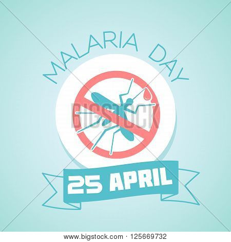 Calendar for each day on April 25. Greeting card. Holiday - Malaria Day. Icon in the linear style
