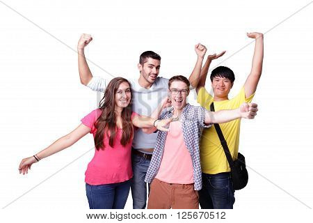 Friend group of happy excited students isolated over a white background caucasian and asian