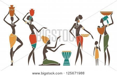 Silhouettes of African women in ethnic costumes