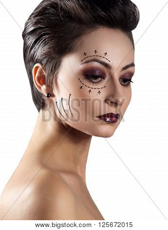 Portrait of beautiful caucasian woman. Plastic surgery and aesthetic medicine concept. Isolated on white