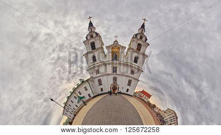 Fish-eye Bended Panorama of Holy-Spirit Cathedral, Main landmark of Minsk, Belarus