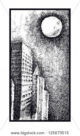 Grunge seamless pattern with skulls.  Hand drawn. Vector illustration.
