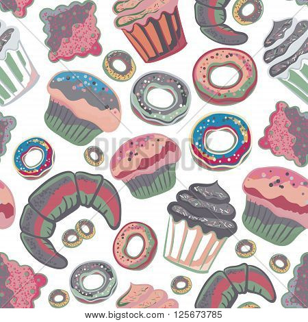 Vector food bakery seamless pattern with baked goods. Flour products from pastry shop. Illustration for print web. Original design element. Pink gray colors.