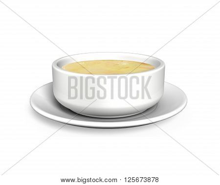 Soup bowl with tray front view isolated on white background 3D illustration.