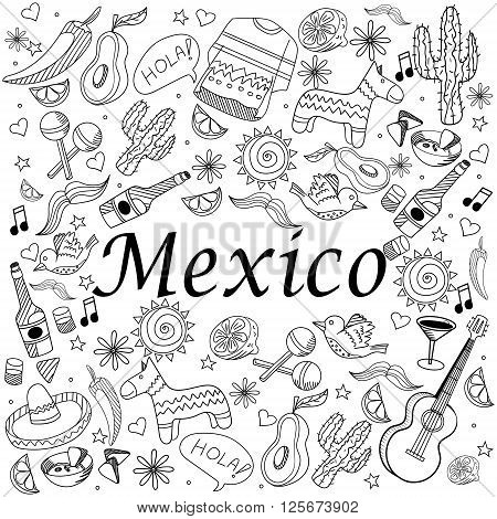 Mexico coloring book line art design vector illustration. Separate objects. Hand drawn doodle design elements.