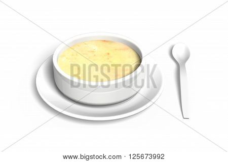 Soup bowl with tray and spoon isolated on white background 3D illustration.
