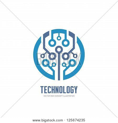 Technology - vector logo concept illustration for corporate identity. Abstract chip logo sign. Network logo sign. Internet logo sign. Web logo sign. Tech logo. Vector logo template. Design element.