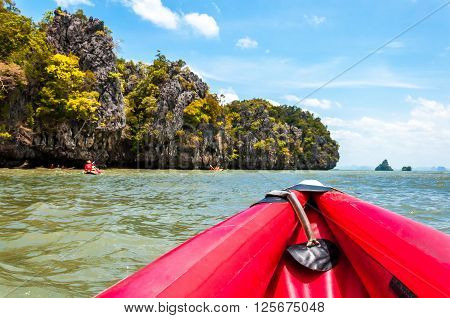 Canoeing is one of the most favorite activity in Phang nga bay Thailand