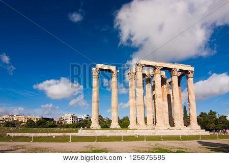 Temple Of Zeus Over Blue Sky