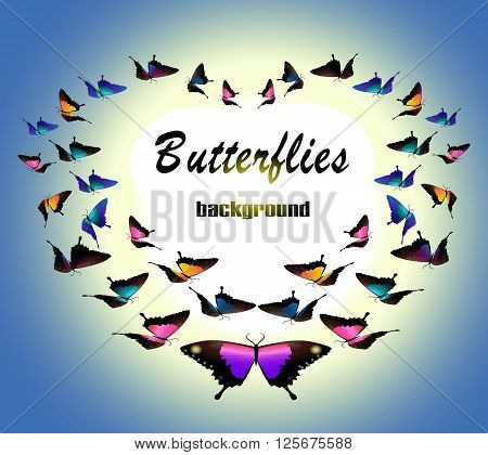 Butterflies background. heart of butterflies. butterflies vector pattern