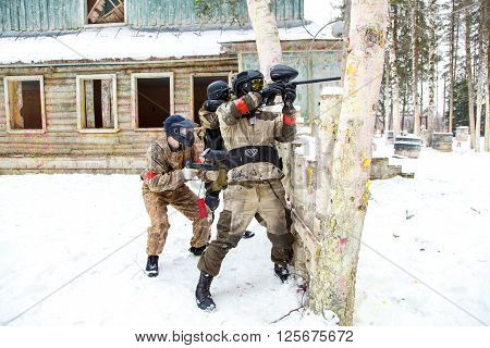 Saint-Petersburg, Russia - February 21, 2016: Big annual paintball scenario game 'Day M' in Snaker club