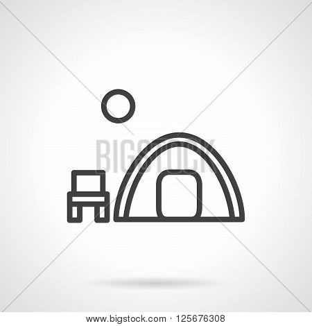 Symbol of outdoors rest. Hike, fishing, tourism. Overnight camping. Tent, chair and moon. Simple black line vector icon. Single element for web design, mobile app.