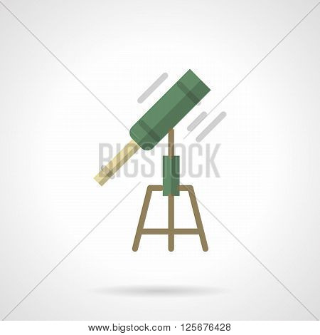 Symbol of astronomy hobby. Science and education. Astronomy tool, green optical telescope. Space research.  Flat color style vector icon. Web design element for site, mobile and business.