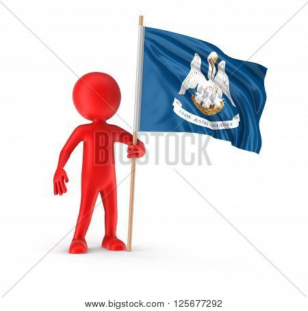 Man and flag of the US state of Louisiana. Image with clipping path