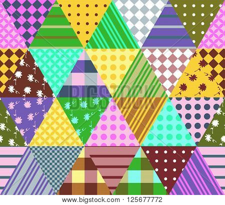 Colorful seamless patchwork pattern. Geometric triangle tiles. Vector illustration of quilt.