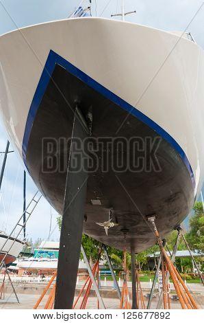 Sailboat maintenance in a shipyard at Phuket Thailand