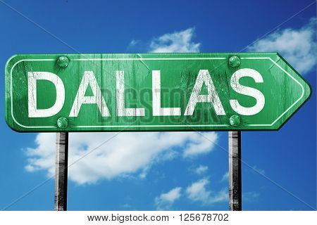 dallas road sign on a blue sky background