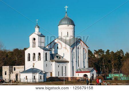 Gomel, Belarus - March 27, 2016: St. Alexander Nevsky Church in Gomel, Belarus. Orthodox Church. Spring Season