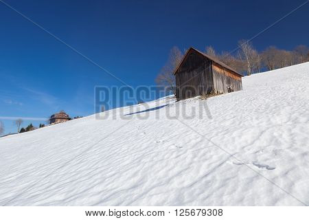 Old winter chalet in Czech Republic built in eastern europe architectural style
