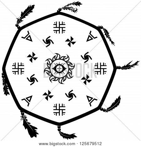 Shaman drum tambourine with slavic signs. Vector illustration