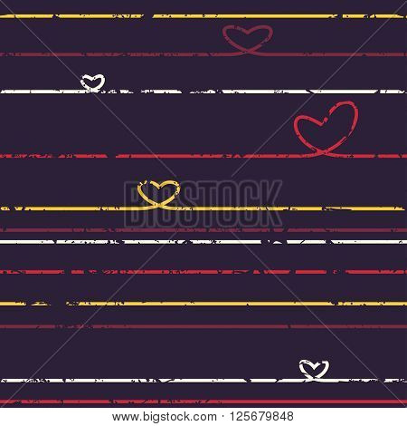Heart of the lines. Seamless pattern. Shabby. Grunge. Coloful vector illustration for your design.