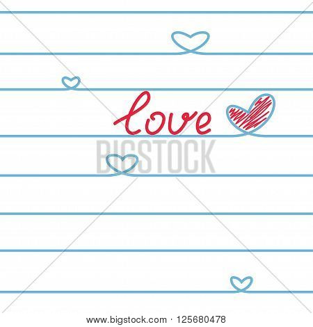Abstract Heart of the blue lines in a notebook. Love. Seamless pattern. Coloful Vector illustration.