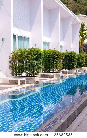 Pool side room with long range pool in Phuket Thailand