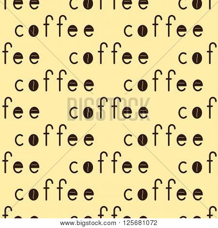 Seamless pattern with repeating brown colored lettering coffee with coffee beans isolated on creamy background