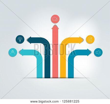 Arrow info graphics scheme, flowchart, template. Vector.