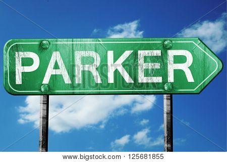 parker road sign on a blue sky background