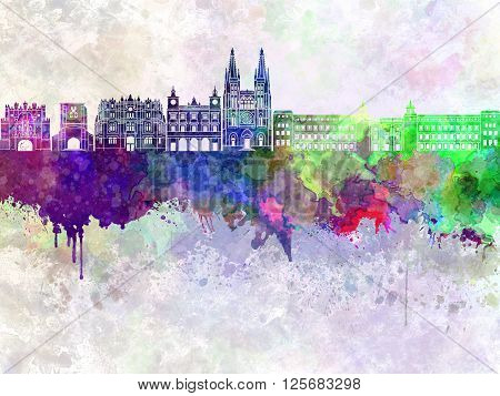 Burgos skyline artistic abstract in watercolor background
