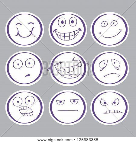 emotions hand-drawn avatars. set vector icon. EPS10.