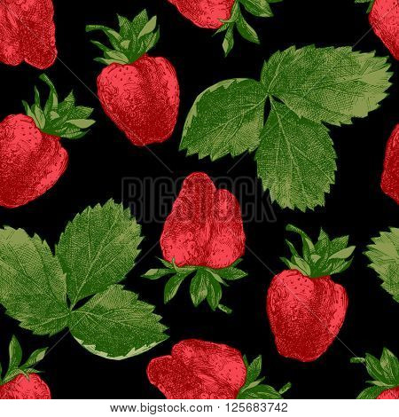 Seamless pattern with fresh hand drawn strawberries