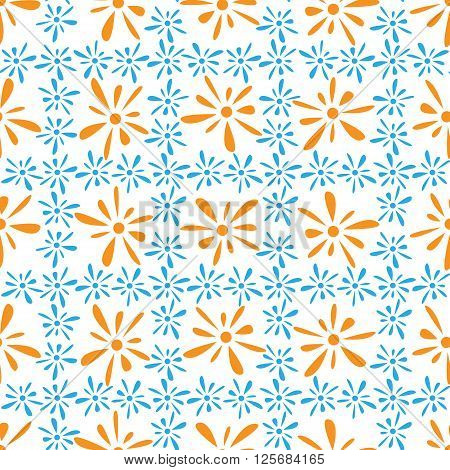 Seamless pattern of orange blue florets petals on white background