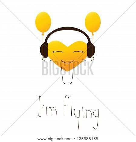 Golden colored cartoon heart character in headphones with balloons and lettering I'm flying in English isolated on white background. Design element. Greeting card. Invitation template