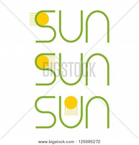 Set of green colored sun with yellow sun with rays lettering isolated on white background. Design element / greeting card template