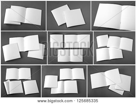 Set of blank magazine catalog brochure magazines book on gray background.