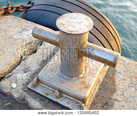 The close view of bollard on the ship deck