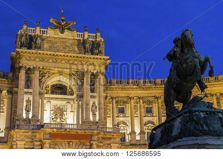 Neue Burg with Prince Eugene of Savoy statue in Vienna in Austria