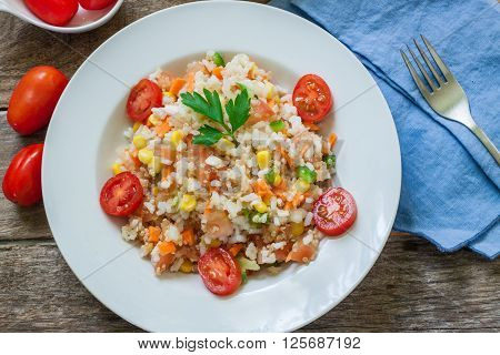 fresh rice and quinoa salad served on plate