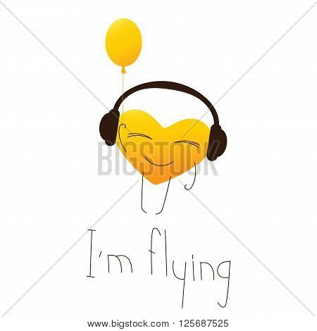 Golden colored cute cartoon heart character in headphones with balloon in one hand and lettering I'm flying in English isolated on white background. Design element. Greeting card. Invitation template