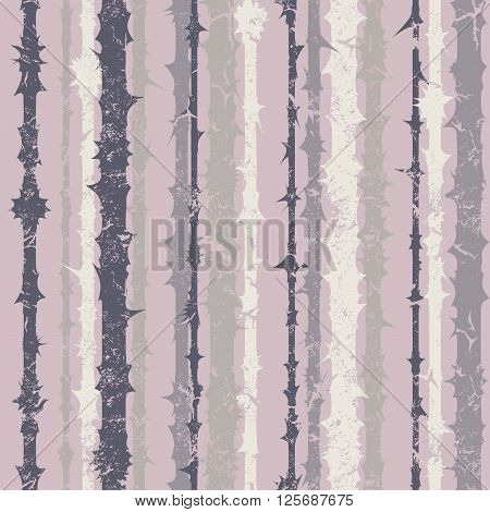 Grunge vertical striped pattern in retro style. Coloful vector illustration. Gray.