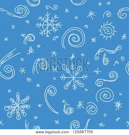 Winter seamless pattern. Doodle. Coloful vector illustration. Blue
